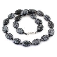 Schneeflocke Obsidian Halskette, Zinklegierung Karabinerverschluss, flache Runde, natürlich, 16x6.5mm, verkauft per 17 ZollInch Strang