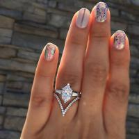 Zinklegierung Fingerring , silberfarben plattiert, verschiedene Größen vorhanden & Micro pave Zirkonia & für Frau & mit Strass, verkauft von PC