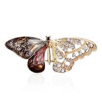 Zinklegierung Broschen, Schmetterling, plattiert, für Frau & Emaille & mit Strass, 50x20mm, verkauft von PC