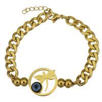 Edelstahl Armband, mit Harz, mit Verlängerungskettchen von 1Inch, Kreisring, goldfarben plattiert, böser Blick- Muster & Kandare Kette & für Frau, 39x18mm, 7mm, verkauft per ca. 7 ZollInch Strang