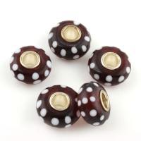 Lampwork Perle, mit Messing, Trommel, goldfarben plattiert, 13x8mm, Bohrung:ca. 4mm, 50PCs/Tasche, verkauft von Tasche