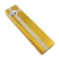 Karton Halskettenkasten, Papier, mit Funkeln Band, Rechteck, gelb, 210x52x30mm, verkauft von PC