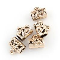 Zinklegierung Stiftöse Perlen, Rohr, goldfarben plattiert, hohl, frei von Blei & Kadmium, 11x12x7mm, Bohrung:ca. 1.5-5mm, 20PCs/Tasche, verkauft von Tasche