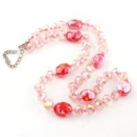 Glasperlen Halsketten, Glas, facettierte, Rosa, 13x16x8mm, verkauft per ca. 16.5 ZollInch Strang