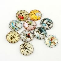 Glas Cabochons, flache Runde, Aufkleber, 20x6mm, 20PCs/Tasche, verkauft von Tasche