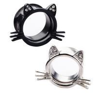 Edelstahl Piercing Durchstich, Hallo Kitty, plattiert, hypoallergenic & unisex & verschiedene Größen vorhanden & mit Strass, keine, 6-20mm, verkauft von PC