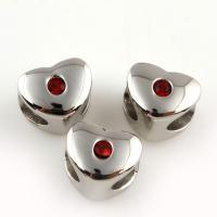Zinklegierung Großes Loch Perlen, Herz, Platinfarbe platiniert, mit Strass, frei von Blei & Kadmium, 9x9x8mm, Bohrung:ca. 6mm, 10PCs/Tasche, verkauft von Tasche