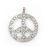 Zinklegierung Frieden Anhänger, Frieden Logo, antik silberfarben plattiert, frei von Blei & Kadmium, 45x49x2mm, Bohrung:ca. 4x6mm, verkauft von PC