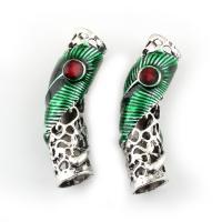 Zinklegierung gebogene Rohr Perlen, gebogenes Rohr, antik silberfarben plattiert, Emaille, frei von Blei & Kadmium, 45x11x10mm, Bohrung:ca. 9mm, verkauft von PC