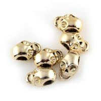 Zinklegierung Europa Beads Einstellung, Schädel, goldfarben plattiert, ohne troll, frei von Blei & Kadmium, 9x14x8mm, Bohrung:ca. 5mm, 20PCs/Tasche, verkauft von Tasche