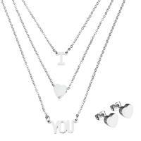 Edelstahl Schmucksets, Ohrring & Halskette, Oval-Kette & für Frau & 3-Strang, originale Farbe, 8x9mm, 8x8mm, 17.5x8mm, 1.5mm, 8x8mm, Länge:ca. 17 ZollInch, verkauft von setzen