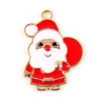 Zinklegierung Weihnachten Anhänger, Weihnachtsmann, goldfarben plattiert, Weihnachtsschmuck & Emaille, frei von Blei & Kadmium, 17x23mm, Bohrung:ca. 2.5mm, 10PCs/Tasche, verkauft von Tasche