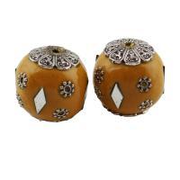 Indonesien Perle, mit Zinklegierung, rund, antik silberfarben plattiert, 19x18mm, Bohrung:ca. 1mm, verkauft von PC