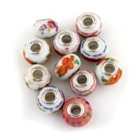 Lampwork European Perlen, mit Messing, Trommel, antik silberfarben plattiert, einadriges Kabel Messing ohne troll, gemischte Farben, 15x15x10mm, Bohrung:ca. 5mm, 10PCs/Menge, verkauft von Menge