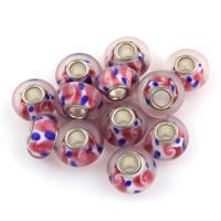 Lampwork Perle, mit Messing, Trommel, Platinfarbe platiniert, 13x13x8mm, Bohrung:ca. 4mm, 100PCs/Tasche, verkauft von Tasche
