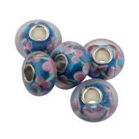 Lampwork Perle, mit Messing, Trommel, Platinfarbe platiniert, innen Blume, 14x14x8mm, Bohrung:ca. 4mm, Innendurchmesser:ca. 70mm, 10PCs/Tasche, verkauft von Tasche