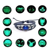 Leder Armband, mit Gewachste Nylonschnur & Glas & Edelstahl, plattiert, Zeit Edelstein Schmuck & unisex & einstellbar & verschiedene Muster für Wahl & 3-Strang & glänzend, verkauft per ca. 7-10 ZollInch Strang