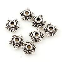 Zinklegierung Perlenkappe, antik silberfarben plattiert, frei von Blei & Kadmium, 7x3, Bohrung:ca. 1mm, 100G/Tasche, verkauft von Tasche
