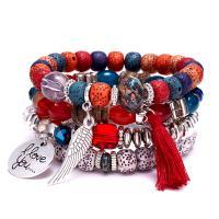 Edelstein Armband, mit Zinklegierung, silberfarben plattiert, unisex & Multi-Strang, keine, 42mm, Länge:ca. 7.8 ZollInch, 4SträngeStrang/Menge, verkauft von Menge