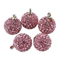 Ton Anhänger, mit Messing, rund, Rosa, 12mm, Bohrung:ca. 1.5mm, 10PCs/Tasche, verkauft von Tasche