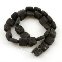 Natürliche Lava Perlen, Squaredelle, 14x6mm, Bohrung:ca. 1.5mm, 28PCs/Strang, verkauft per ca. 15.4 ZollInch Strang