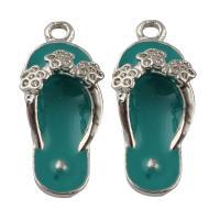 Zinklegierung Schuhe Anhänger, Platinfarbe platiniert, Emaille, frei von Blei & Kadmium, 11x27x6mm, Bohrung:ca. 1mm, 10PCs/Tasche, verkauft von Tasche