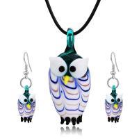 Murano Schmuck Sets, Ohrring & Halskette, Lampwork, mit Lederband, Eule, für Frau, blau, 45,4.8,2.5cm, verkauft von setzen