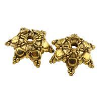 Zinklegierung Perlenkappe, Hexagram, antike Goldfarbe plattiert, frei von Blei & Kadmium, 17x6mm, Bohrung:ca. 1.5mm, 50PCs/Tasche, verkauft von Tasche