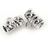 Zinklegierung Stiftöse Perlen, silberfarben plattiert, frei von Blei & Kadmium, 11x9mm, Bohrung:ca. 3.5x1.5mm, 20PCs/Tasche, verkauft von Tasche