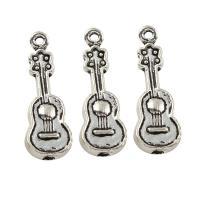 Musikinstrument Zinklegierung Anhänger, Violine, antik silberfarben plattiert, frei von Blei & Kadmium, 10x29x3mm, Bohrung:ca. 1.5mm, ca. 33PCs/Tasche, verkauft von Tasche