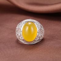 Messing Open -Finger-Ring, mit Achat, platiniert, unisex, keine, Bohrung:ca. 2-3mm, Größe:7, verkauft von PC