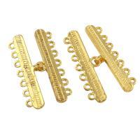 Zinklegierung Schmuckverbinder, goldfarben plattiert, 1/7-Schleife, frei von Blei & Kadmium, 17x36x1mm, Bohrung:ca. 1mm, 10PCs/Tasche, verkauft von Tasche
