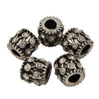 Strass Zinklegierung Perlen, Rohr, antik silberfarben plattiert, mit Strass, frei von Blei & Kadmium, 9x10mm, Bohrung:ca. 4mm, 10PCs/Tasche, verkauft von Tasche