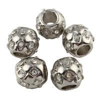 Zink Legierung Europa Perlen, Zinklegierung, Trommel, Platinfarbe platiniert, ohne troll & mit Strass, frei von Blei & Kadmium, 10x11mm, Bohrung:ca. 5mm, 10PCs/Tasche, verkauft von Tasche