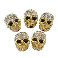 Strass Zinklegierung Perlen, Schädel, goldfarben plattiert, mit Strass, frei von Blei & Kadmium, 11x16x9mm, Bohrung:ca. 1mm, 10PCs/Tasche, verkauft von Tasche