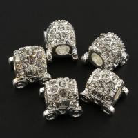 Strass Zinklegierung Perlen, Kutsche, silberfarben plattiert, mit Strass, frei von Blei & Kadmium, 12x13x10mm, Bohrung:ca. 4mm, 10PCs/Tasche, verkauft von Tasche