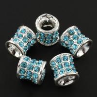 Zink Legierung Europa Perlen, Zinklegierung, Rohr, silberfarben plattiert, ohne troll & mit Strass & großes Loch, frei von Blei & Kadmium, 13x13mm, Bohrung:ca. 6mm, 10PCs/Tasche, verkauft von Tasche