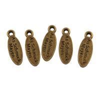 Zinklegierung flachovale Anhänger, antike Goldfarbe plattiert, frei von Blei & Kadmium, 5.50x16x1.50mm, Bohrung:ca. 1.2mm, ca. 125PCs/Tasche, verkauft von Tasche