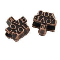 Zink Legierung Alphabet Perlen, Zinklegierung, antike Kupferfarbe plattiert, frei von Blei & Kadmium, 11x11x7.50mm, Bohrung:ca. 4mm, ca. 50PCs/Tasche, verkauft von Tasche