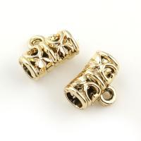 Zinklegierung Stiftöse Perlen, goldfarben plattiert, frei von Blei & Kadmium, 12x9x6mm, Bohrung:ca. 1.5x3.5mm, 20PCs/Tasche, verkauft von Tasche