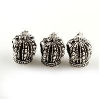 Zink Legierung Europa Perlen, Zinklegierung, Krone, antik silberfarben plattiert, ohne troll, frei von Blei & Kadmium, 9x15x12mm, Bohrung:ca. 5mm, ca. 31PCs/Tasche, verkauft von Tasche
