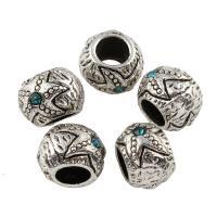Zink Legierung Europa Perlen, Zinklegierung, Trommel, antik silberfarben plattiert, ohne troll & mit Strass, frei von Blei & Kadmium, 8x11mm, Bohrung:ca. 5mm, 10PCs/Tasche, verkauft von Tasche