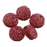 Zinklegierung Perle, mit Lehm pflastern, flache Runde, mit Strass, Rosa, frei von Blei & Kadmium, 12x7mm, Bohrung:ca. 1.5mm, 10PCs/Tasche, verkauft von Tasche
