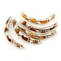 Zinklegierung gebogene Rohr Perlen, gebogenes Rohr, Platinfarbe platiniert, Emaille, frei von Blei & Kadmium, 41x5mm, Bohrung:ca. 1.5mm, 10PCs/Tasche, verkauft von Tasche