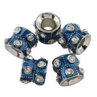 Zink Legierung Europa Perlen, Zinklegierung, Rohr, Platinfarbe platiniert, ohne troll & Emaille & mit Strass, frei von Blei & Kadmium, 11x9mm, Bohrung:ca. 5mm, 10PCs/Tasche, verkauft von Tasche