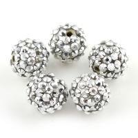 Zinklegierung Perle, mit Lehm pflastern, rund, mit Strass, frei von Blei & Kadmium, 16mm, Bohrung:ca. 2mm, 100PCs/Tasche, verkauft von Tasche