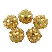 Zinklegierung Perle, mit Lehm pflastern, rund, mit Strass, gelb, frei von Blei & Kadmium, 10mm, Bohrung:ca. 2mm, 10PCs/Tasche, verkauft von Tasche
