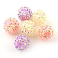 Zinklegierung Perle, mit Lehm pflastern, rund, mit Strass, keine, frei von Blei & Kadmium, 14mm, Bohrung:ca. 2mm, verkauft von Tasche