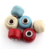 Lampwork European Perlen, mit Messing, Trommel, Platinfarbe platiniert, einadriges Kabel Messing ohne troll & Holzstreifen, gemischte Farben, 19x19x15mm, Bohrung:ca. 5mm, 30PCs/Tasche, verkauft von Tasche