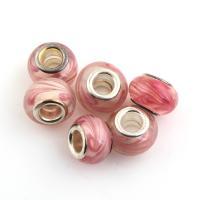Lampwork European Perlen, mit Messing, Trommel, Platinfarbe platiniert, einadriges Kabel Messing ohne troll, 14x14x9mm, Bohrung:ca. 5mm, 10PCs/Tasche, verkauft von Tasche